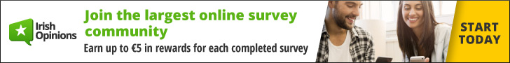 Earn up to €5 in rewards for each completed survey at Irish Opinions